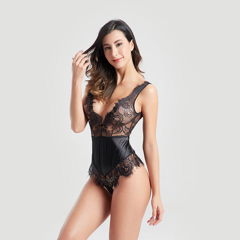 Satin lace deep V hollow out sexy backless bodysuit BSQ163