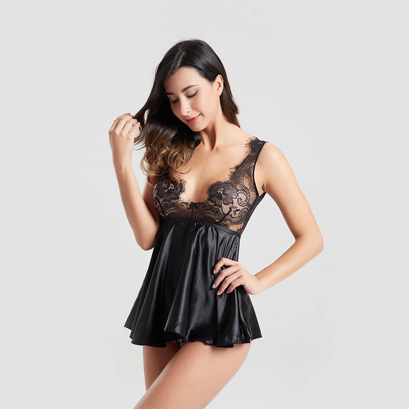 Satin lace back V shaped backless sexy bodysuit lingerie BSQ164