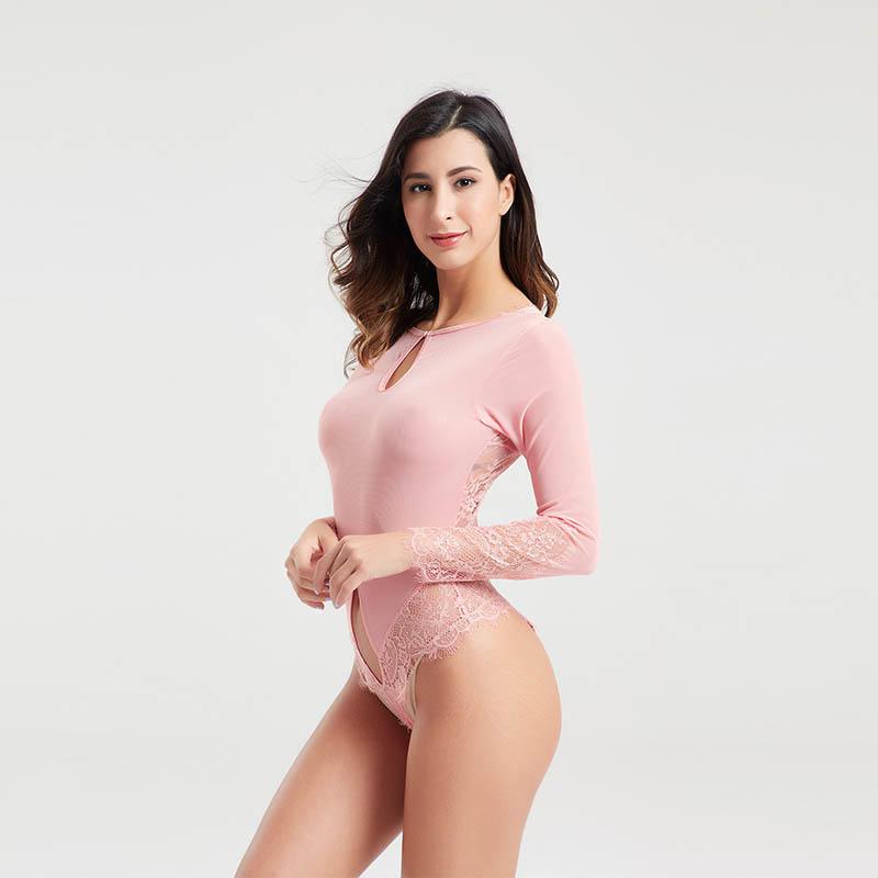 Elegant ladies long sleeve eyelash lace transparent sexy bodysuit lingerie BSQ169