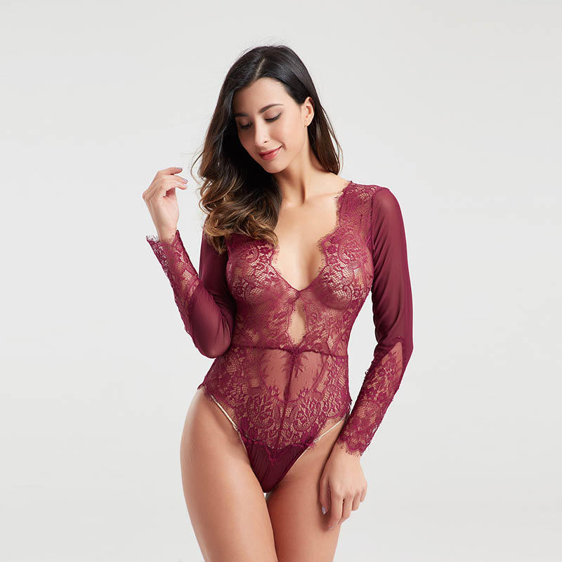 High quality eyelash lace transparent mesh sexy bodysuits for women BSQ170