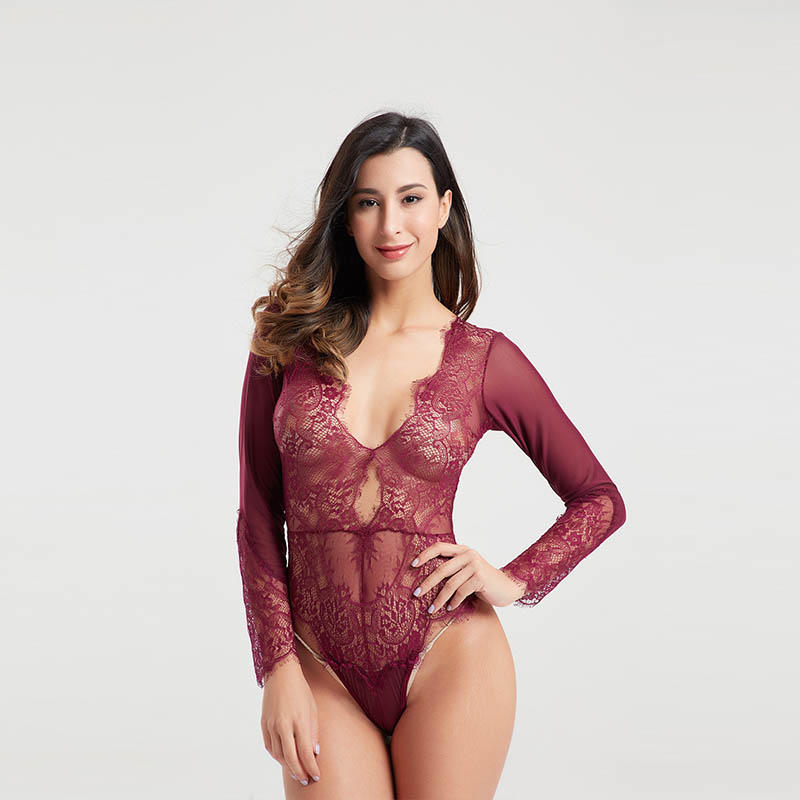 High quality eyelash lace transparent mesh sexy bodysuits for women BSQ170