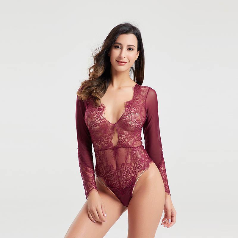 High quality eyelash lace transparent mesh bodysuit BSQ170