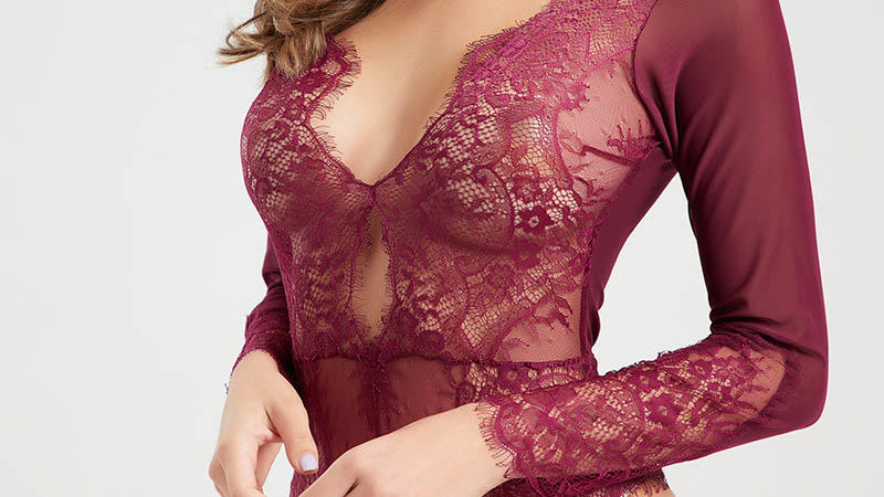 High quality eyelash lace transparent mesh bodysuit BSQ170