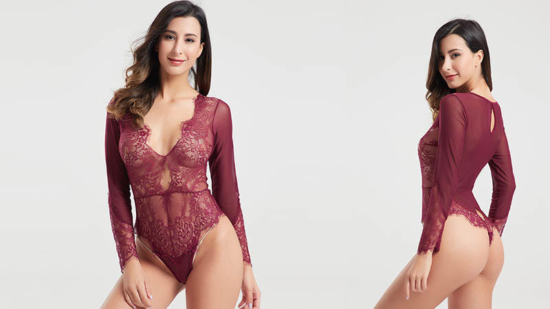 Besung backless sheer mesh bodysuit sale for hotel