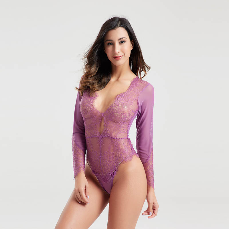 Newest design purple mesh eyelash lace sexy lingerie BSQ170
