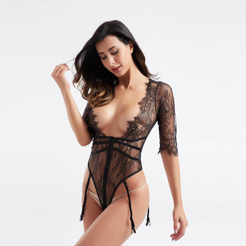 Sexy hot sale middle sleeve deep V garter female bodysuit sexy underwear BSQ179
