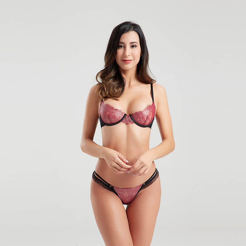 OEM&ODM eyelash lace two-piece sexy bra set BSQ167