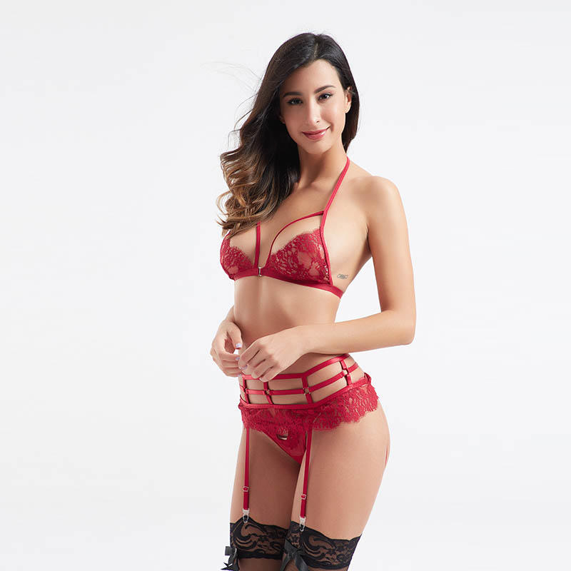Lace centre front buckle lingerie sets with garters BSQ176