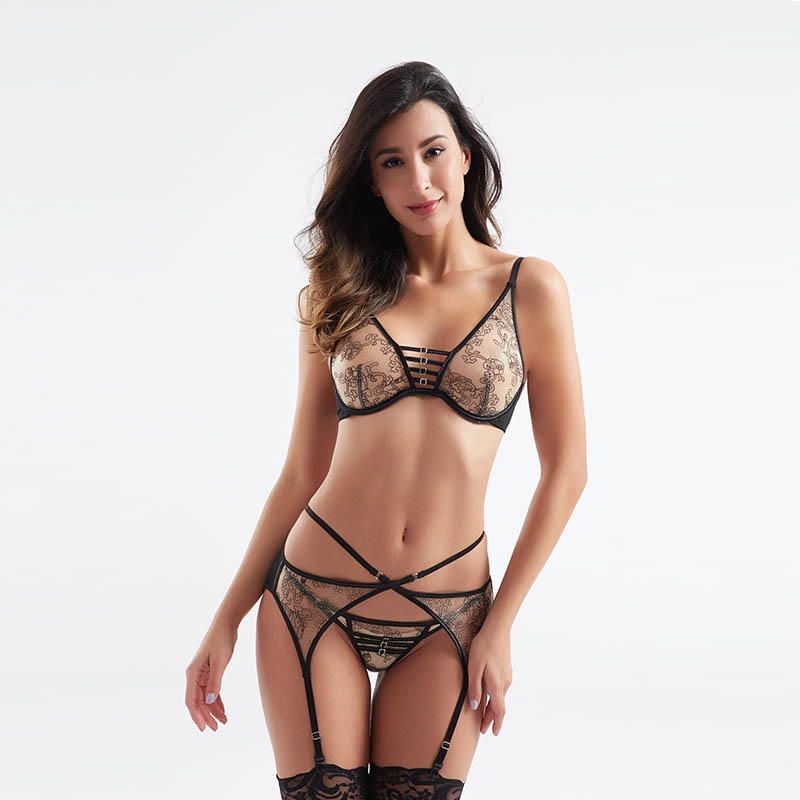 Fashionable transparent mesh design sexy bra and panty sets BSQ181