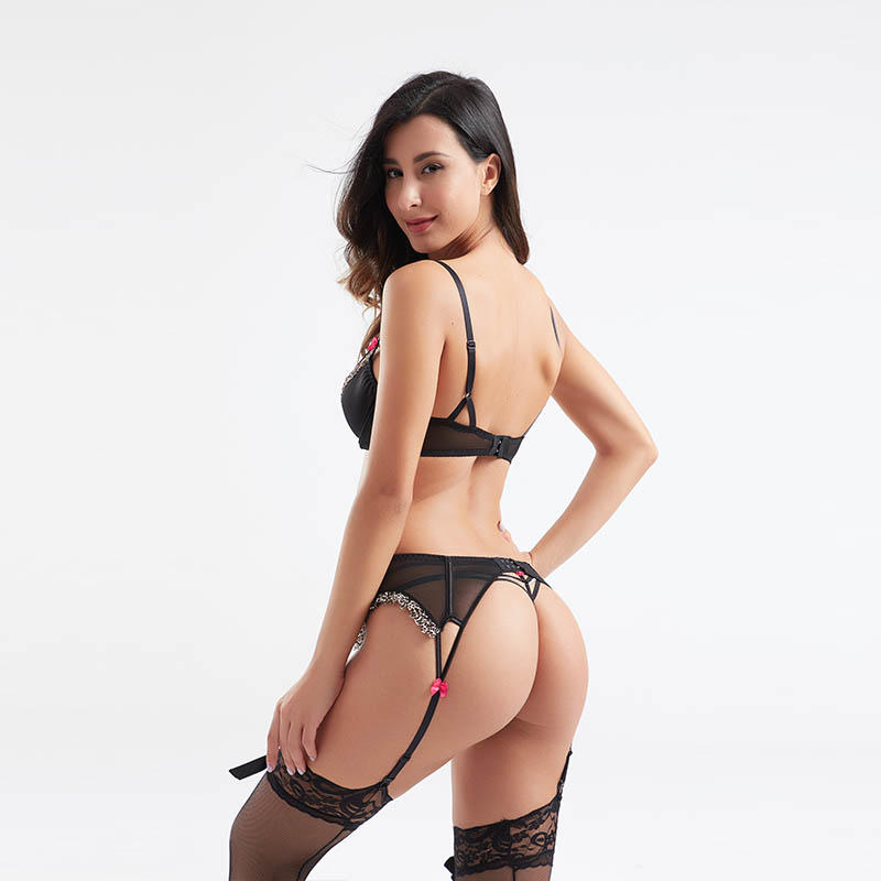 Classical fashion leopard print three-piece set of bra, panty and garter BSQ184