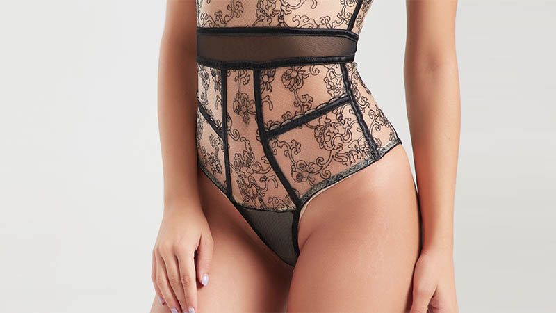 Lace black mesh decorative woven tape sexy corset BSQ168-4