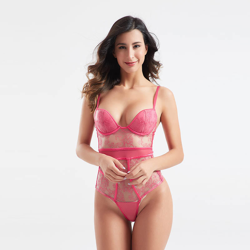Transparent lace rose red mesh sexy corset sets BSQ172