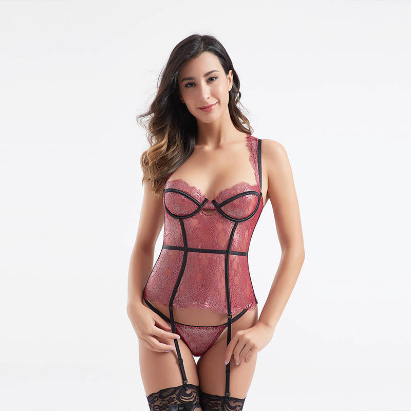 Elegant sexy lace symmetry mesh sexy corset BSQ175
