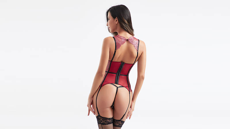 Besung red corset sexy underwear for wife-5