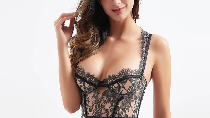 New style fabric transparent lace sexy corset BSQ186-4