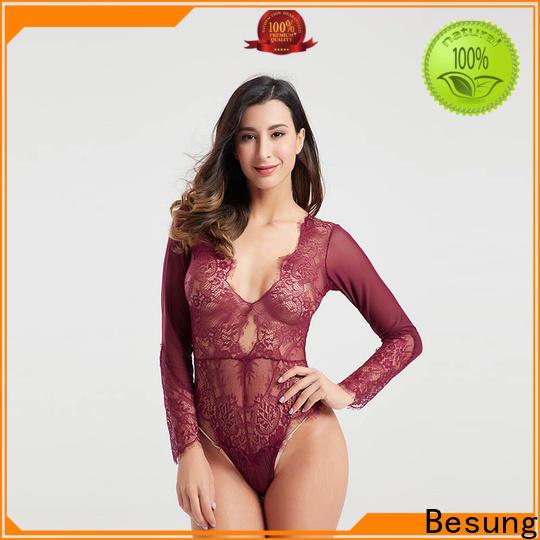 Besung style womens long sleeve bodysuit lingerie for lover
