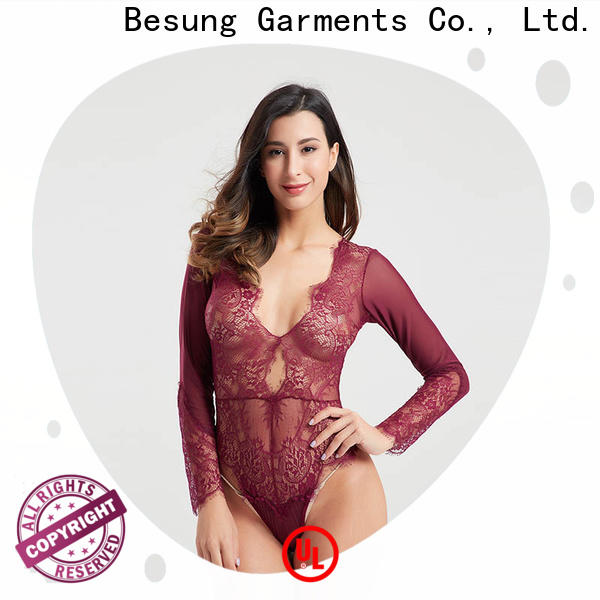 Besung eyelash black sheer bodysuit for wholesale for wife