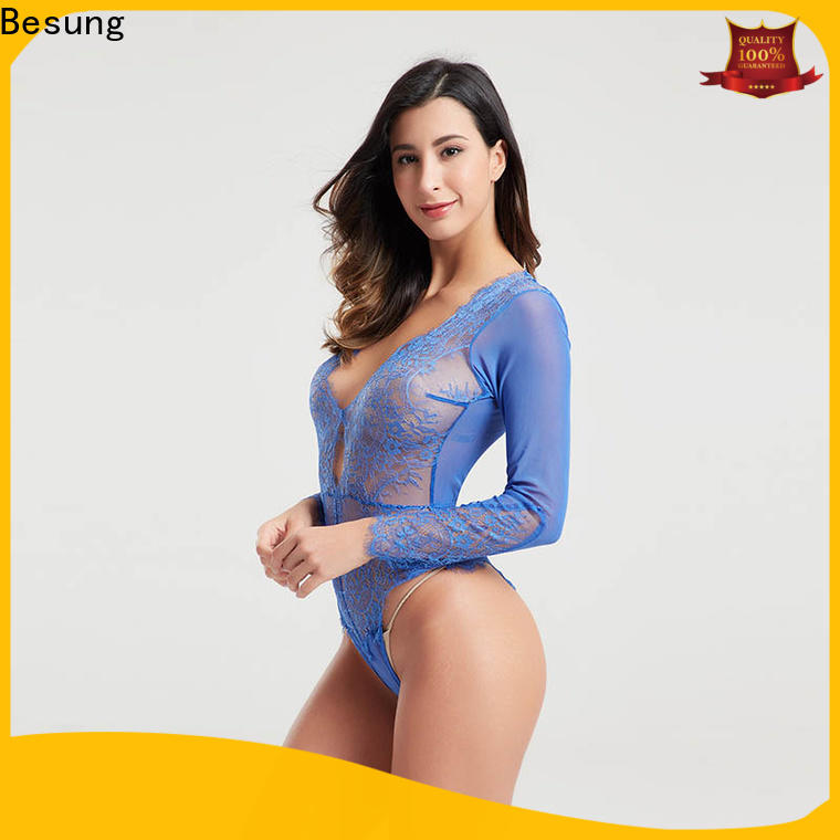 Besung backless blue lace bodysuit at discount for wife