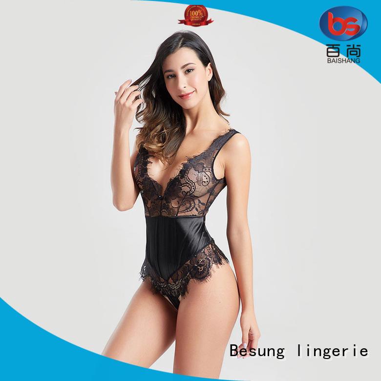 Besung simple design sheer bodysuit bodysuit for women