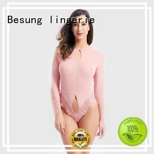 Elegant ladies long sleeve eyelash lace transparent bodysuit BSQ169