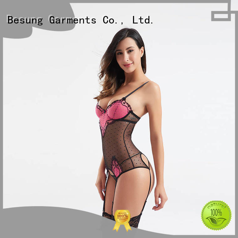 Fashionable popular big & small dot mesh underwire bra bodysuit BSQ178