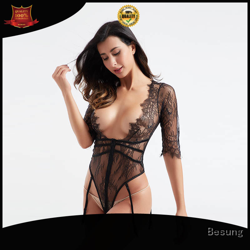 Sexy hot sale middle sleeve deep V garter woman sexy underwear BSQ179