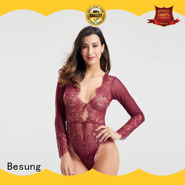 Besung low price red lace bodysuit wholesale for wife