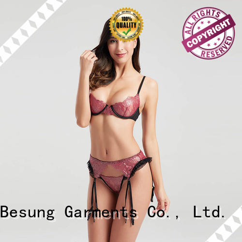 High-end fashion gold lace three-piece lingerie sets with garters BSQ167