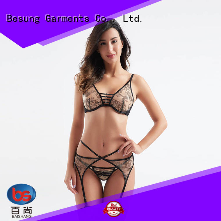 Besung low price crotchless lingerie contrast for hotel