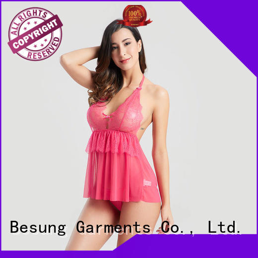 Besung sleeve red lace bodysuit lingerie for home