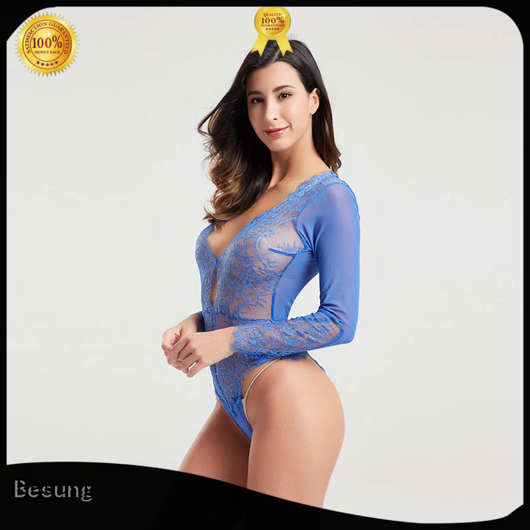 new design blue lace bodysuit backless wholesale for hotel