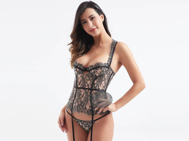 New style fabric transparent lace sexy corset BSQ186