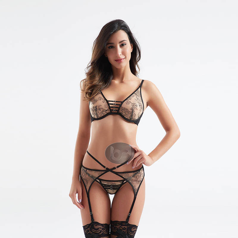 Fashionable transparent mesh design sexy bra and panty sets BSQ181-1