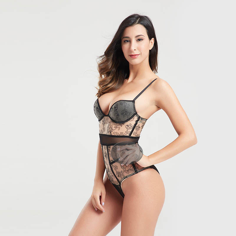 Besung black leather corset at discount for women-1